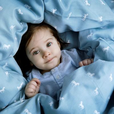 cam cam baby i blå sengetøj