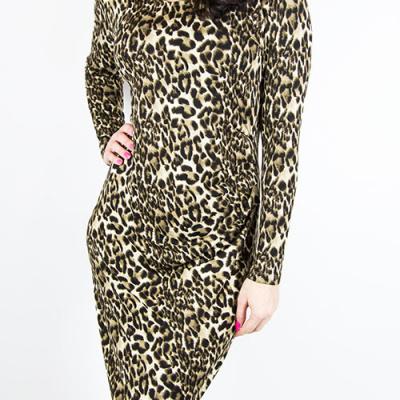 stram leopard kjole